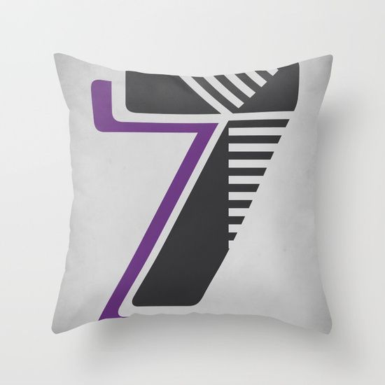 Number 7 Typography Throw Pillow