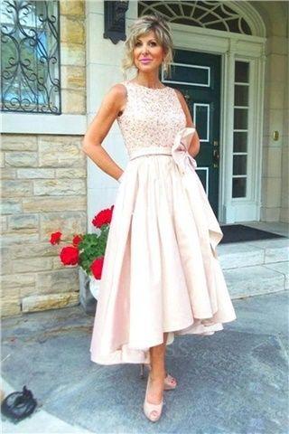 A-Linie/Princess-Linie Juwel-Ausschnitt Wadenlang Nach hinten abfallender Saum Satin Brautmutterkleider