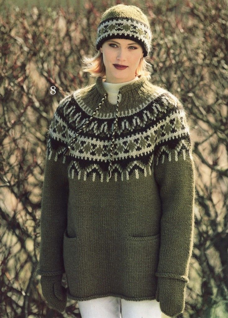Lopi 14 Gorgeous Yoke Sweater With Pockets Mittens Amp Hat