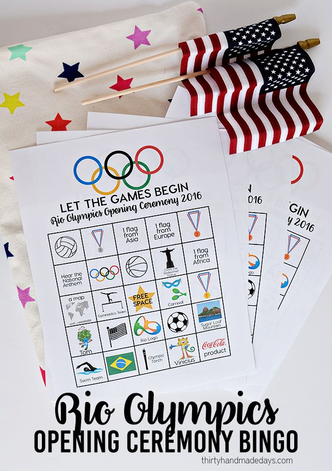 Rio Olympics Opening Ceremony BINGO - download and print these BINGO sheets for the Opening Ceremony. www.thirtyhandmadedays.com