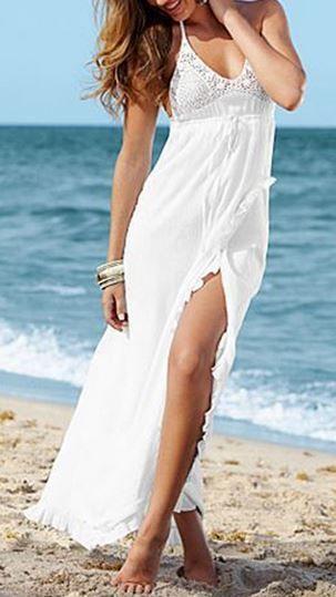 Bohemian Style White Lace Splicing Solid Color Slit Sleeveless Beach Maxi Dress #White #Bohemian #Style #Beach #Dress