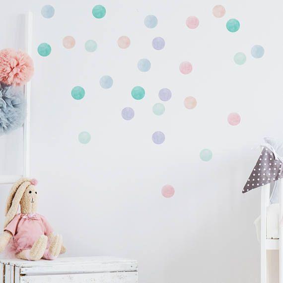Wall Sicker Confetti Dots Watercolour Dots Pastel Colours