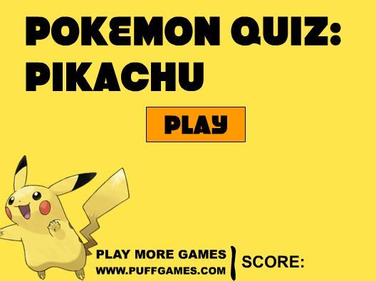 Pokemon Quiz Pikachu game online