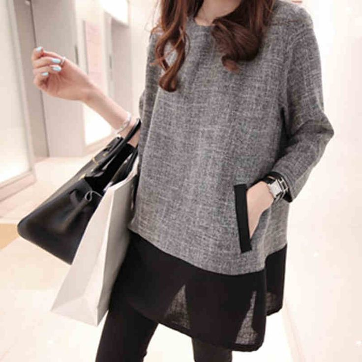 Women Tops And Blouses 2016 New Fashion Plus Size Women Clothing O-Neck Long…