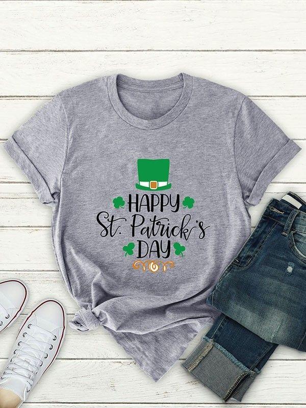 a50989a67 Dresswel Women Happy St. Patrick's Day Letter Print T-shirt Tops $13.99 # dresswel