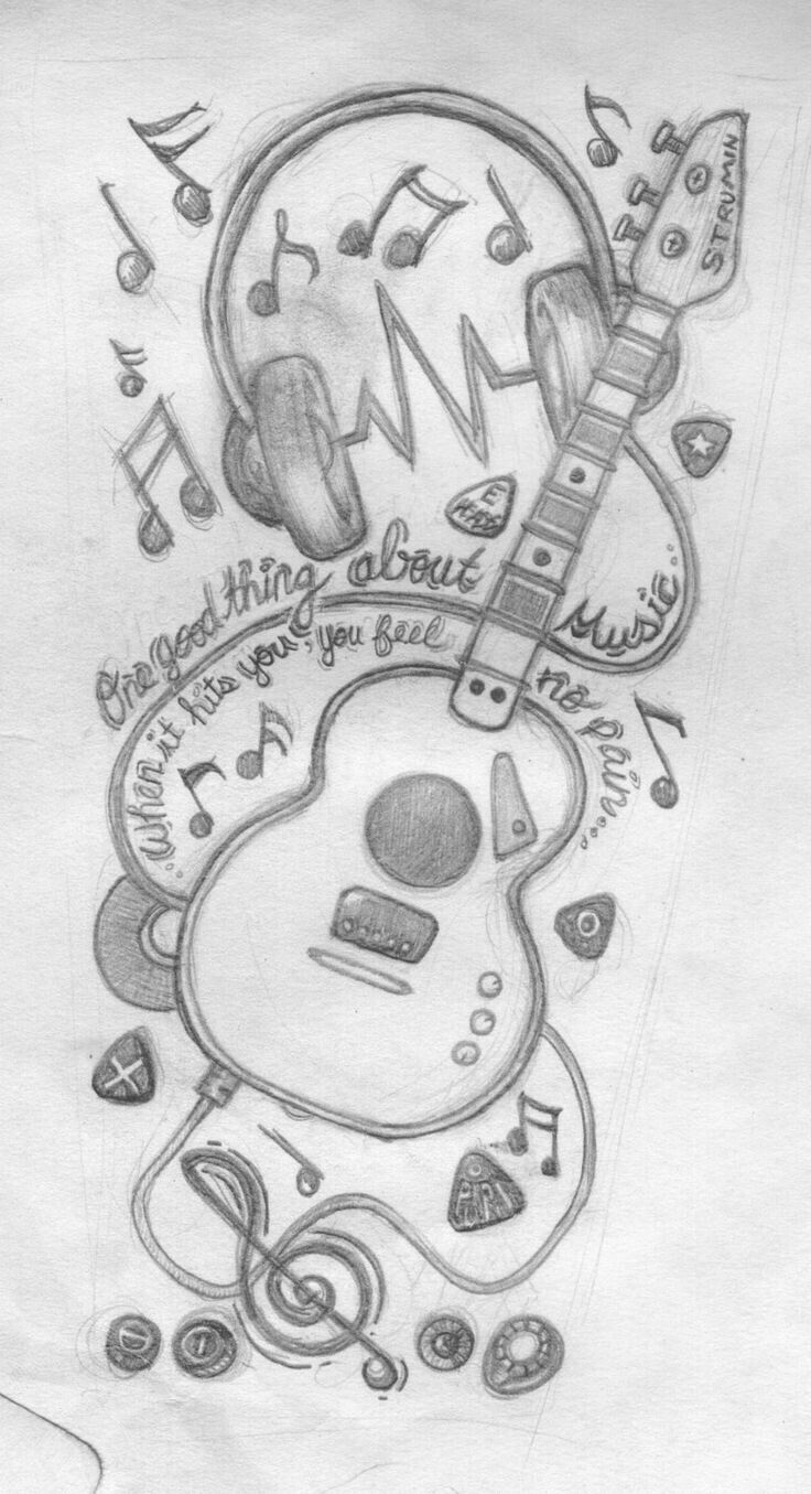 Dibujo de grafito | audífonos y guitarras – #aud…