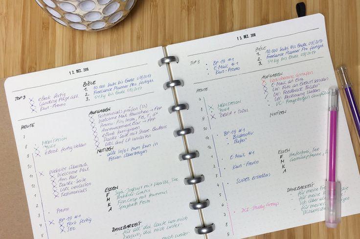 Das ist mein Tageslayout im ATOMA-Ringbuch mit dotted Paper. Mit dieser Art der Planung schaffe ich meistens das, was ich mir vorgenommen habe.