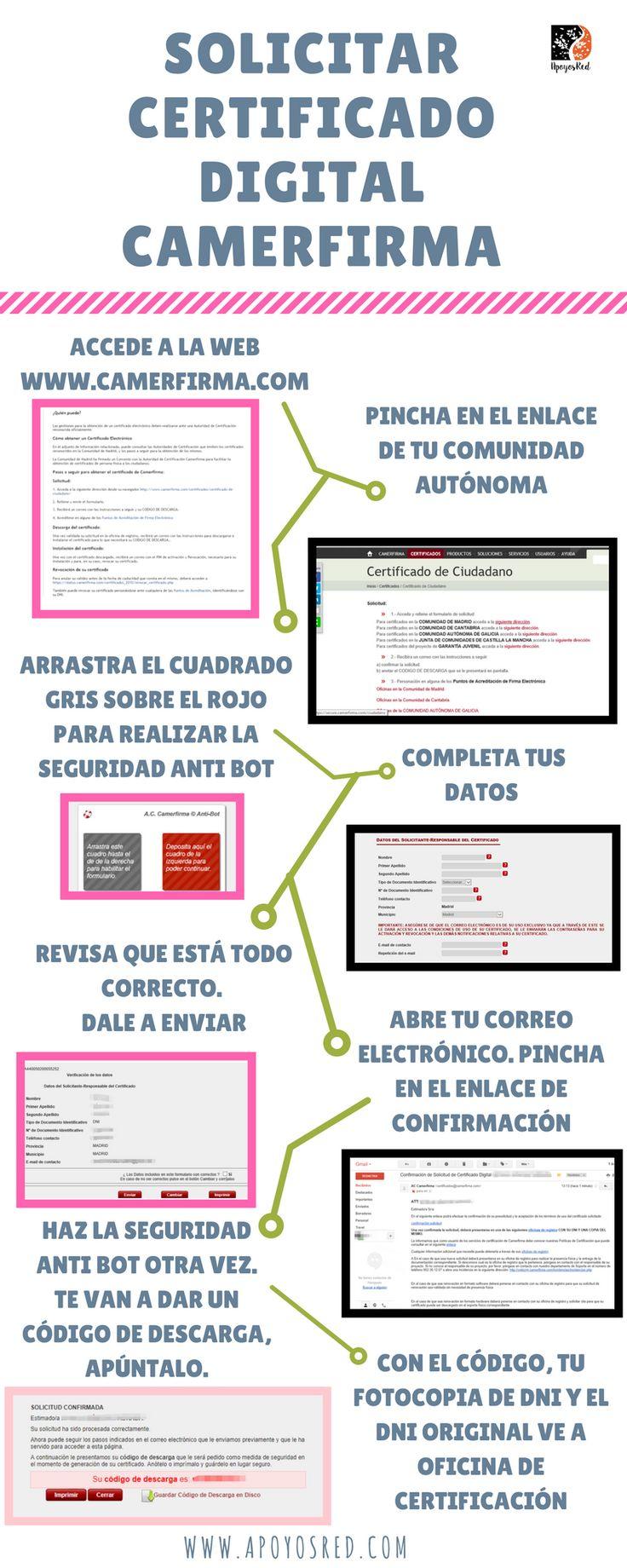 Descubre cómo solicitar un certificado camerfirma. Descarga en el apartado de trámites y gestiones de la comunidad, en #Apoyoalpapeleo