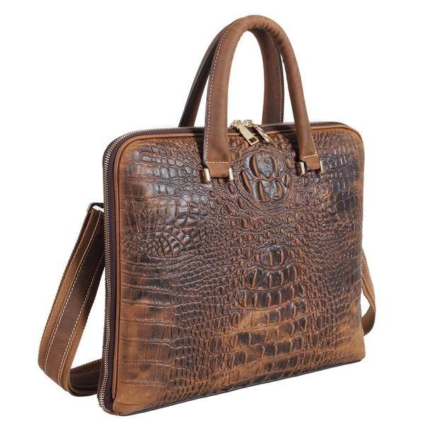 Leather Mens Briefcases Crocodile Messenger Bag Alligator Laptop Handbag Cowhide