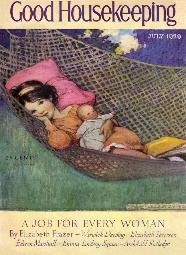 Good Housekeeping magazine cover (July 1929) © JESSIE WILLCOX SMITH (Artist. USA, 1863-1935) ... Summer, Outdoors, Hammock, Girl, Doll, Book ... Pin from the Primary Source.