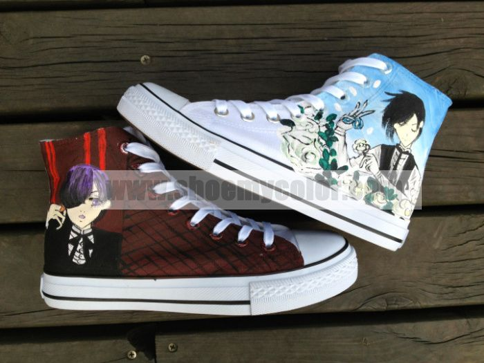 This is the newest Black Bulter high top hand painted canvas sneaker shoes.