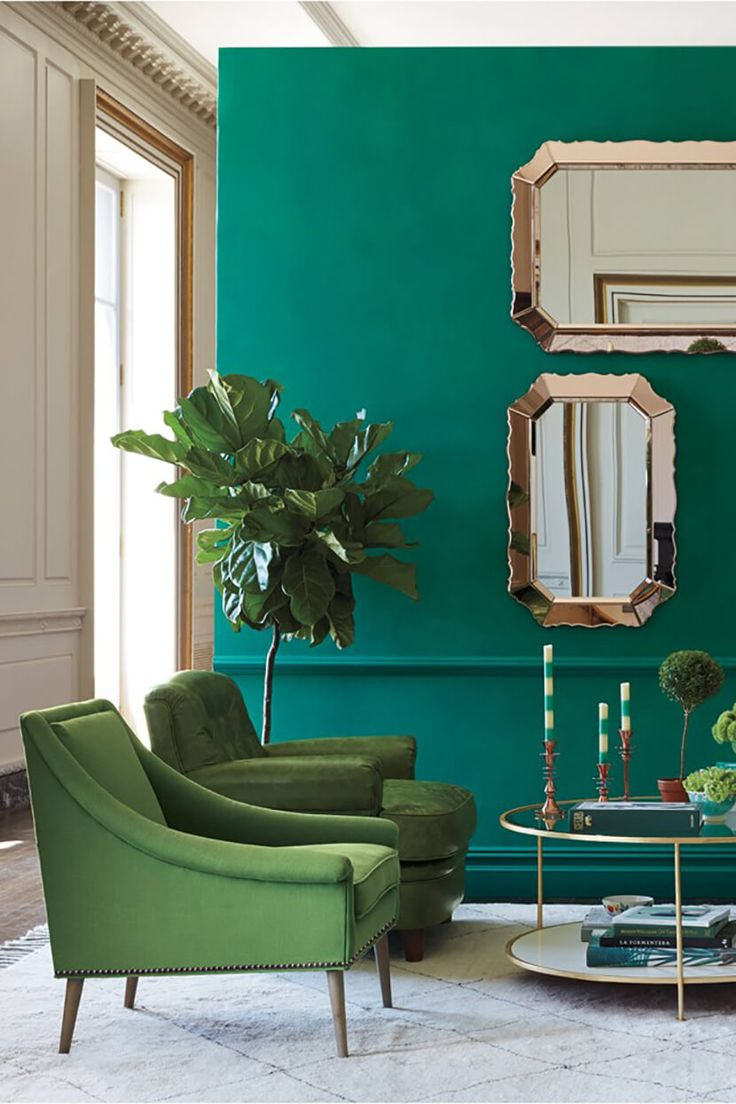 Wall Colour Inspiration: Color Clash : Emerald And Teal (Emily Henderson)
