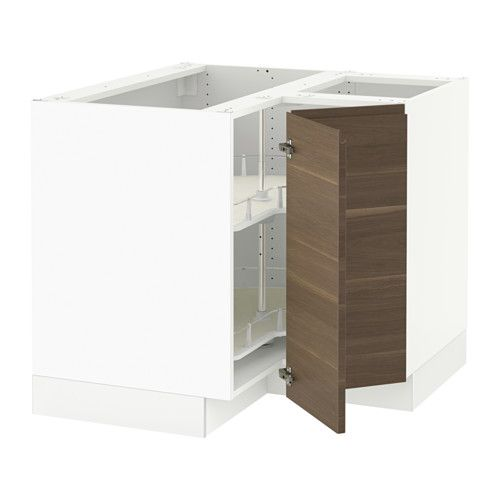 SEKTION Corner base cabinet with carousel - white, Voxtorp left-handed/walnut effect - IKEA