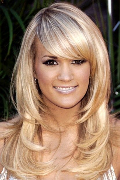 Long Layered Hair Cut with side bangs on Carrie Underwood