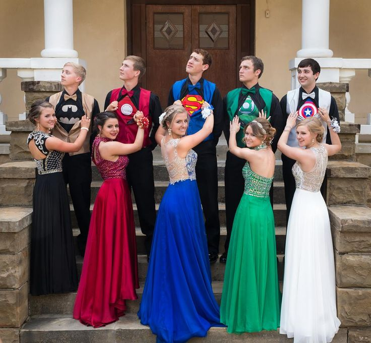 Love their idea for Prom! Batman, Spider-Man, Superman, Green Lantern, and Captain America. (From left to right).