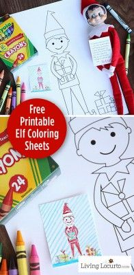 Elf on the Shelf Free Printable Coloring Sheets