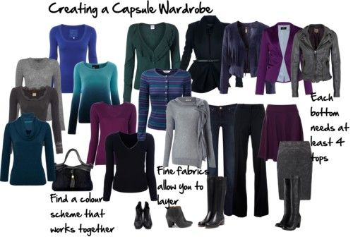 How to Create a Capsule Wardrobe that Works for You The formula I like to use is:      2 x jackets or cardigans (top layers)     4 x bottoms (skirts/pants)     6 x tops     Each jacket must work with all the tops and bottoms.     Each top must work with all the bottoms.