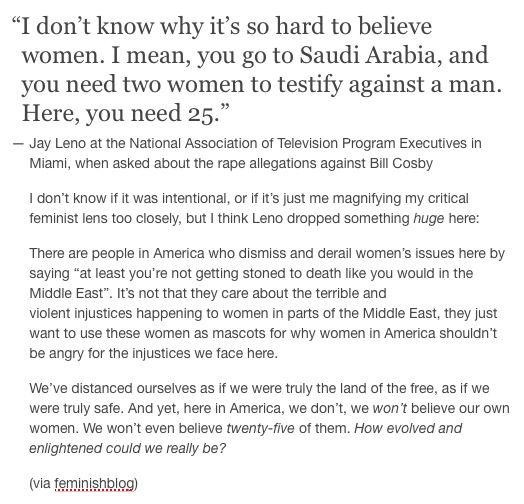 """""""Is it because most of this allegedly happened so long ago? Is it because some of them went into Cosby's hotel room alone? Is it because there are no Polaroids? Is it because he's so famous? Or is it just because they're women?"""" Larry Wilmore asked. """"Let's understand this number. That's like if Bill Cosby drugged and raped every single U.S. president from George Washington to John F. Kennedy!"""""""