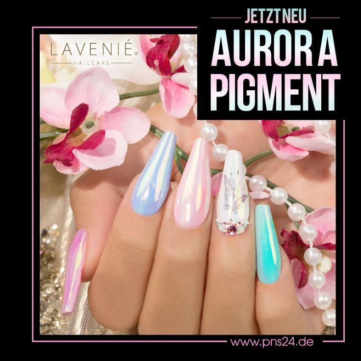 #aurora #pigment #shine #nails #nailart Kennst Du schon den neuesten Sommertrend? Mit dem LAVENIÉ Aurora Mirror Pigment zauberst Du Dir das wunderschöne Leuchten der Polarlichter auf die Fingernägel.