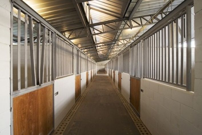 Rio's Olympic Equestrian facility horse stables, interior view.