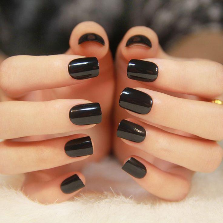 YUNAI 24Pcs Pure Gum Square Head Short Paragraph Nail Art False Nails Manicure Patch Fake Nails Black *** Check out this great product.