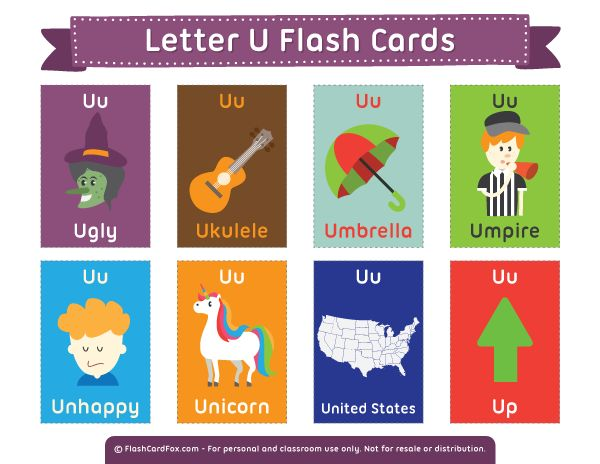 Free printable letter U flash cards. Download them in PDF format at http://flashcardfox.com/download/letter-u-flash-cards/