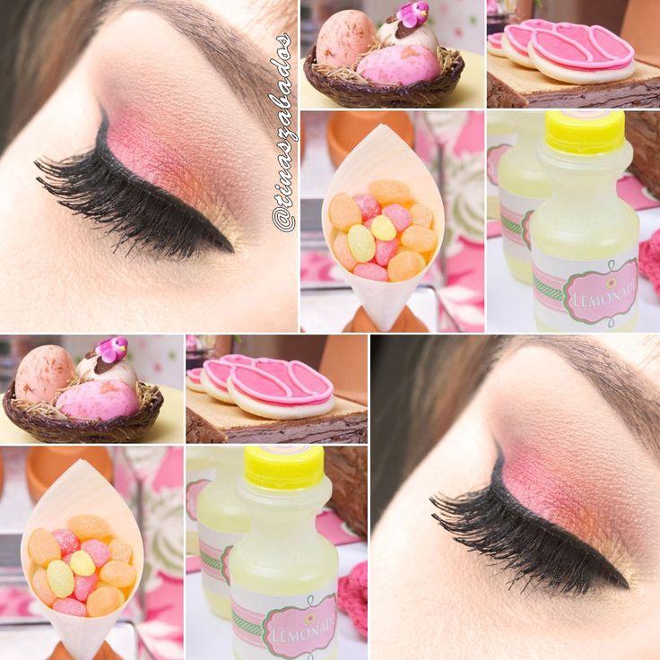 Olhos em tons de rosa chiclete, pêssego, um pouquinho de amarelinho baunilha e - claro - marrom chocolate para deixar a cara da Páscoa, né? Acho que é o tutorial de maquiagem mais doce de todos os tempos! Bora conferir? #Maquiagem #makeup #make #olho #esfumado #delineado #rosa #pink #orange #yellow #candy #candycolor #Páscoa #easter