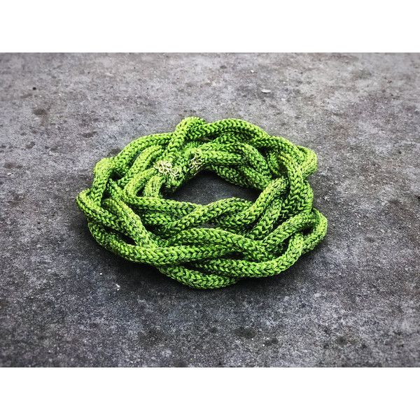 St Patrick Irish Necklace Crochet Green Chunky Chain Necklace Unique... (€44) ❤ liked on Polyvore featuring jewelry, necklaces, knotted chain necklace, macrame necklace, green jewelry, green jewellery and handmade jewellery