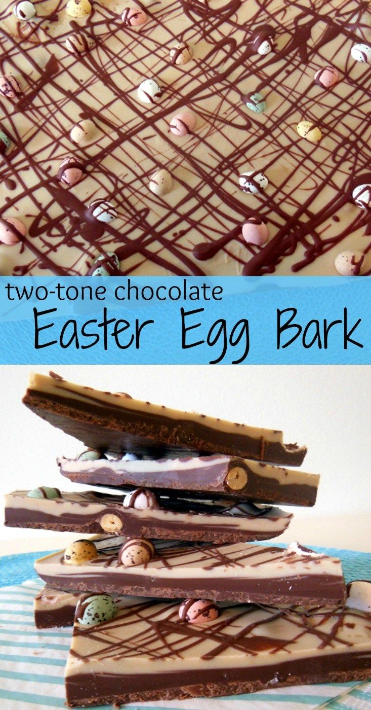 I made a gorgeous two tone chocolate bark and topped it with Easter eggs. Not only is it delicious and pretty: it's a great original and fun gift idea!