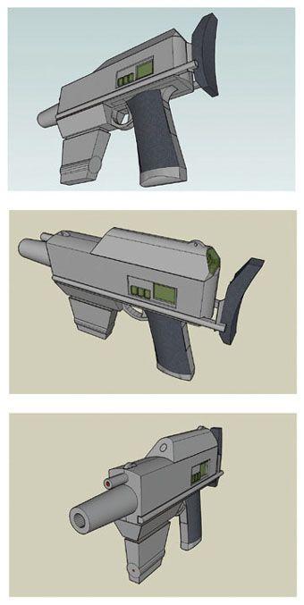 Futuristic gun. 3D design. Google SketchUp.
