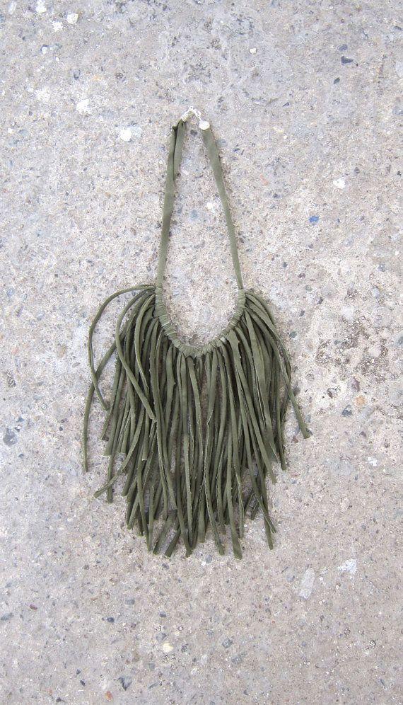 Boho Fringes Necklace Elastic Jersey Fabric by lecosedites on Etsy