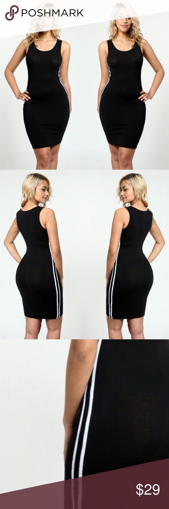 Sporty 💎 T-Shirt Dress Sporty black tshirt dress. Featuring two white strips at the side this stretchy and breathable design is perfect for everyday use. Dresses Midi
