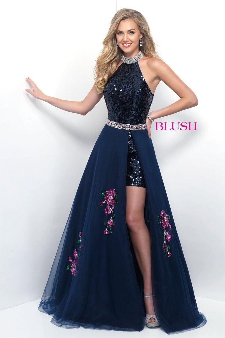 Pink Navy Blue Sequin Dress