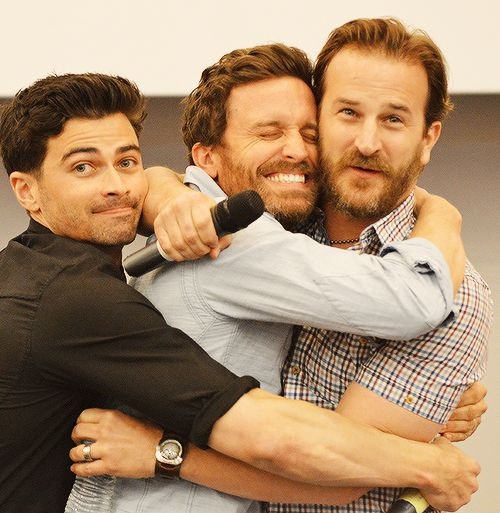Reason 998745 why I love the SPN cast. Just look at them!! (John, Chuck, and Gabriel)