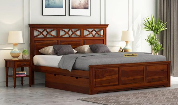 Buy Allan Bed With Storage Queen Size Honey Finish Online In