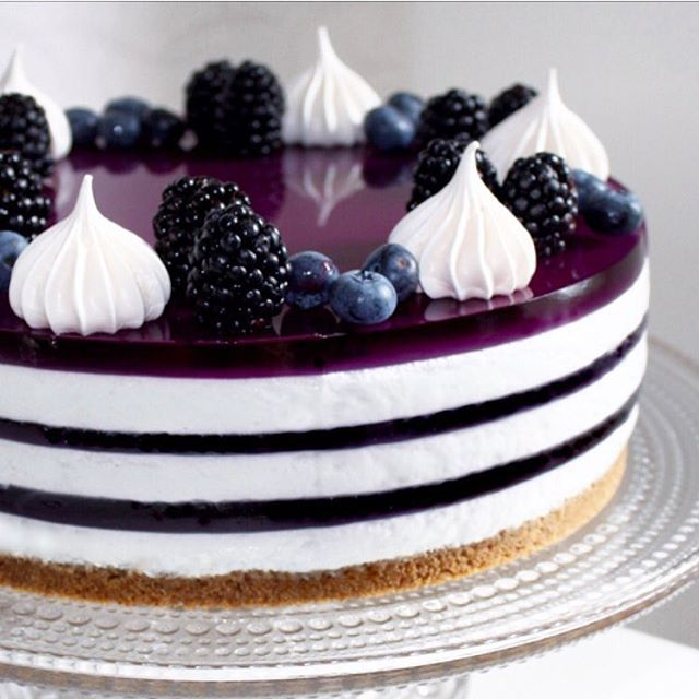 Blåbærostekake med gelé✨ Blueberry Jelly Cheesecake✨ #ostekake #cheesecake…
