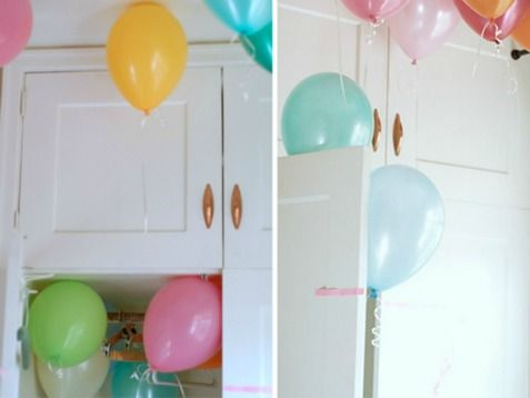 Hide ballons in cabinets to surprise them on their birthday. http://www.ivillage.com/make-your-kids-birthday-special/6-a-517735#