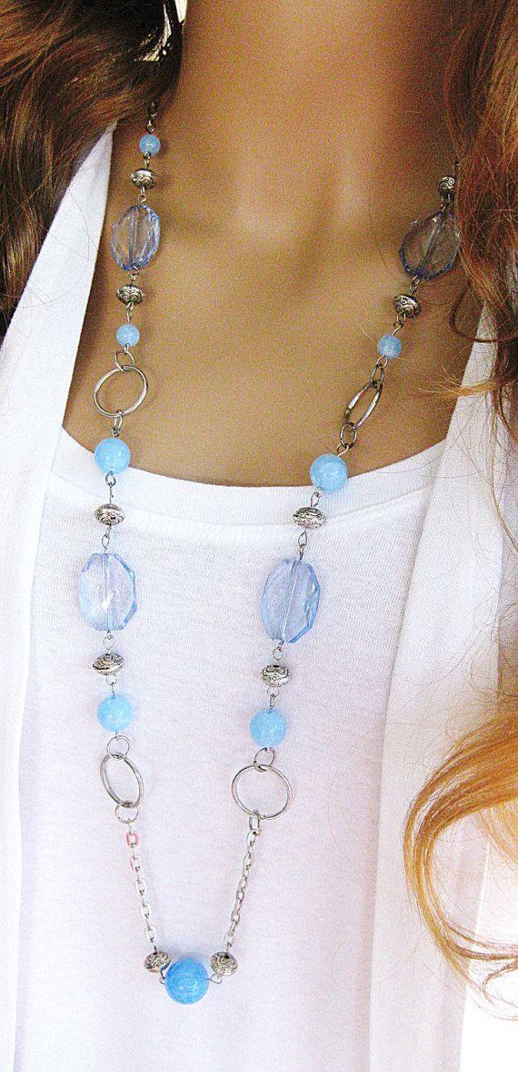 Long collane lunghe collane di perline blu blu di RalstonOriginals