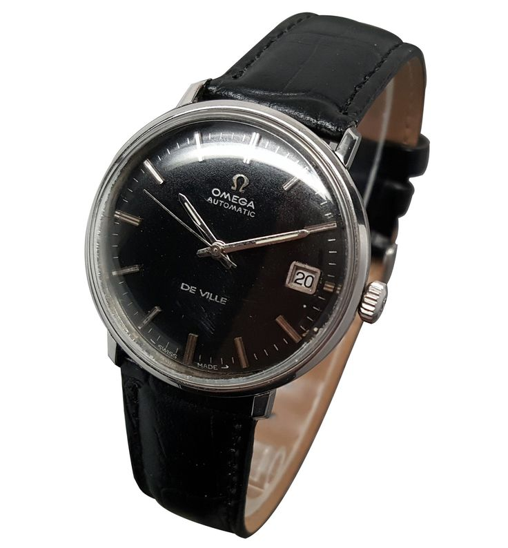 OMEGA Seamaster Deville Automatic Date Black Dial Watch Caliber 565 Rare 1960's