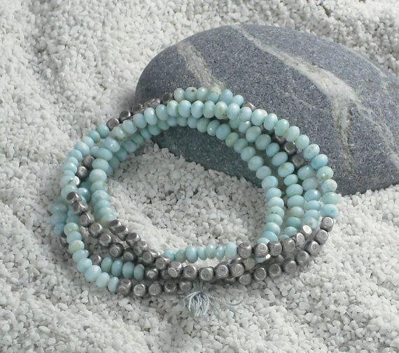 Larimar Bracelet Blue Wrap Faceted By Alaskanstardust 260 00 Wrist Adornment Pinterest