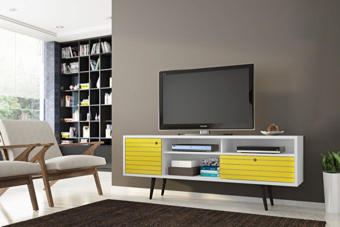 Amazon Com Manhattan Comfort Liberty Collection Mid Century Modern Tv Stand With Three Shelv Mid Century Modern Tv Stand Modern Tv Stand Modern Tv Stand White