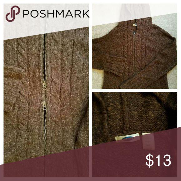 Zip up sweater hoodie Dark brown and camel zip up sweater hoodie. Double zipper size L Sweaters Cardigans