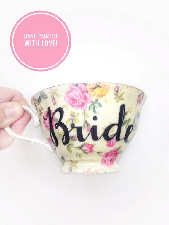 Floral BRIDE Tea Cup & Saucer  Wedding Coffee by VelvetCrownDesign