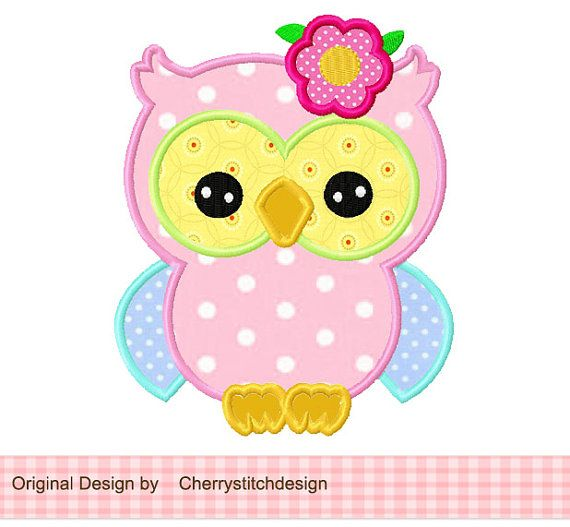 spring flower owl Applique -4x4 5x7 6x10-Machine Embroidery Applique Design on Etsy, $2.99
