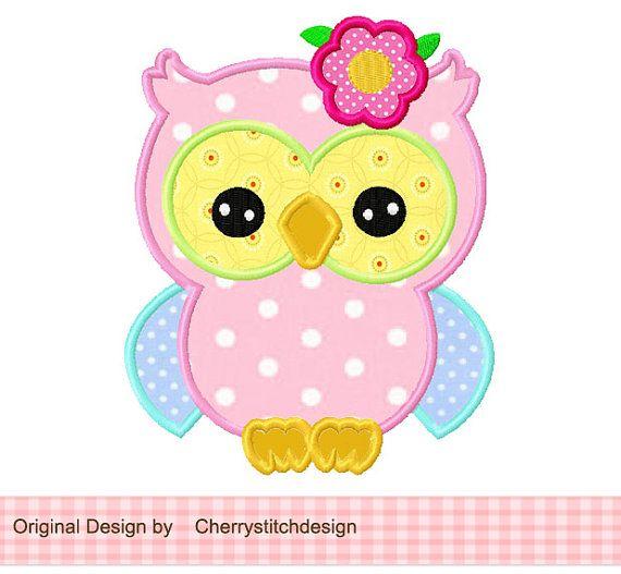 spring flower owl Applique -4x4 5x7 6x10-Machine Embroidery Applique Design on Etsy, $2.99
