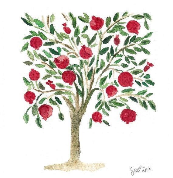 The  Pomegranate Tree folk art inspired Fine Art  by TheJoyofColor, $ 21.00 >> Beautiful!