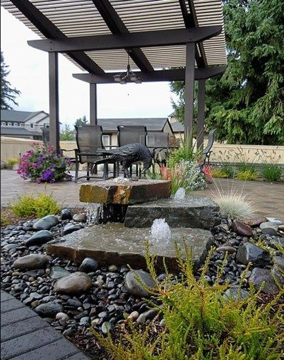 Pondless Water Feature  Fountain  Woody's Custom Landscaping Inc  Battle Ground, WA