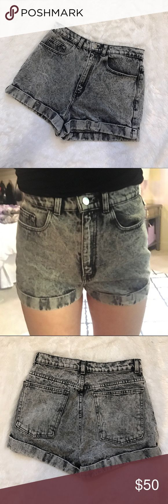 American Apparel Jean Shorts These high waisted jean shorts are in perfect condition and they fit great. They are a 29 but they fit more like a 28. They are now rare shorts since American Apparel shut down. American Apparel Shorts Jean Shorts