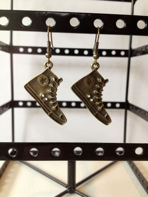 Brass Running Shoe Charm Earrings