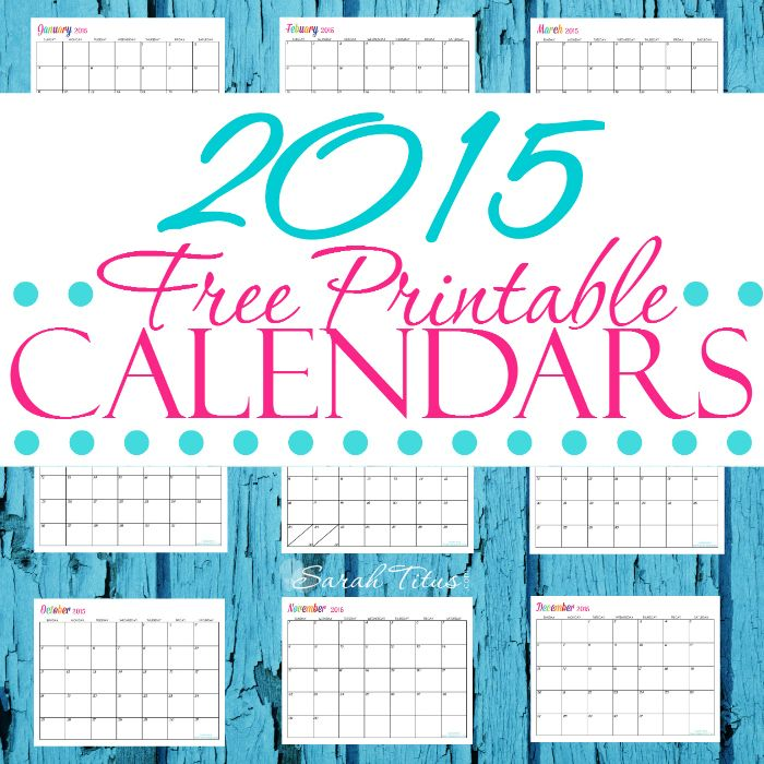 free downloadable monthly calendar 2015